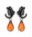 Mandarin Garnet and Black Diamond Salamander Drop Earrings