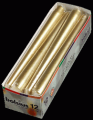 Dinner Candles 25cm Tapers Gold